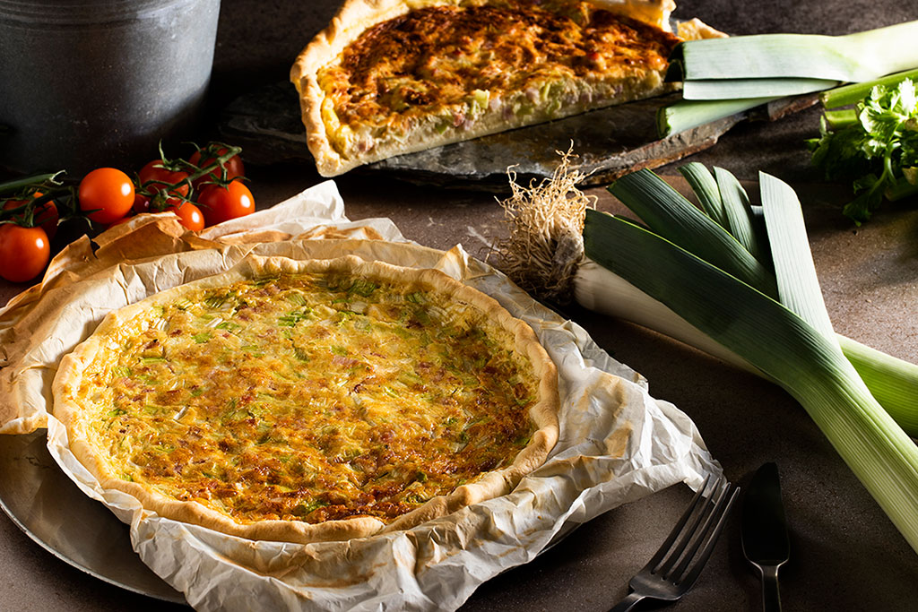 quiche de bacon puerro y queso